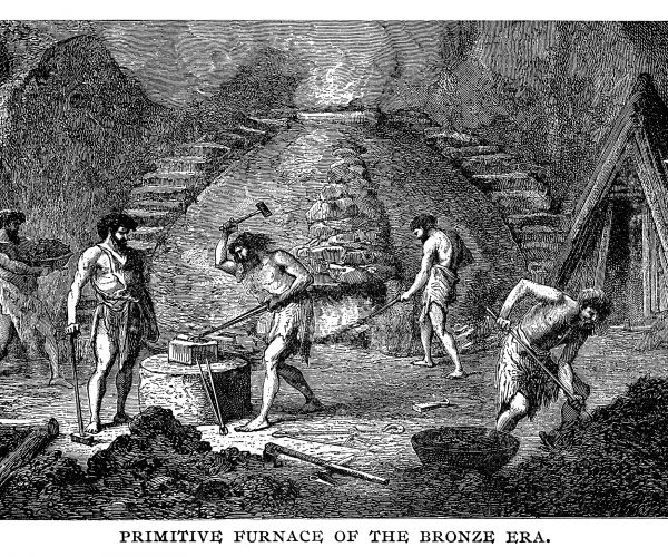 Primitive furnace of the bronze era - Scanned 1890 Engraving