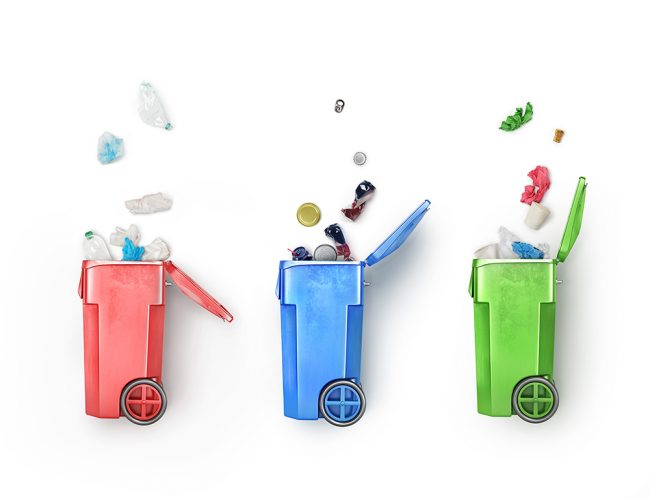 Concept of garbage sorting. Recycle bins with differrent rubbish isolated on a white background. Waste management and recycle concept.
